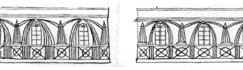 3. Projekt dekoracji elewacji pałacowej, BNL, fond 45, opis III, 2263/256, arkusz 5, Zakład Reprografii BNL