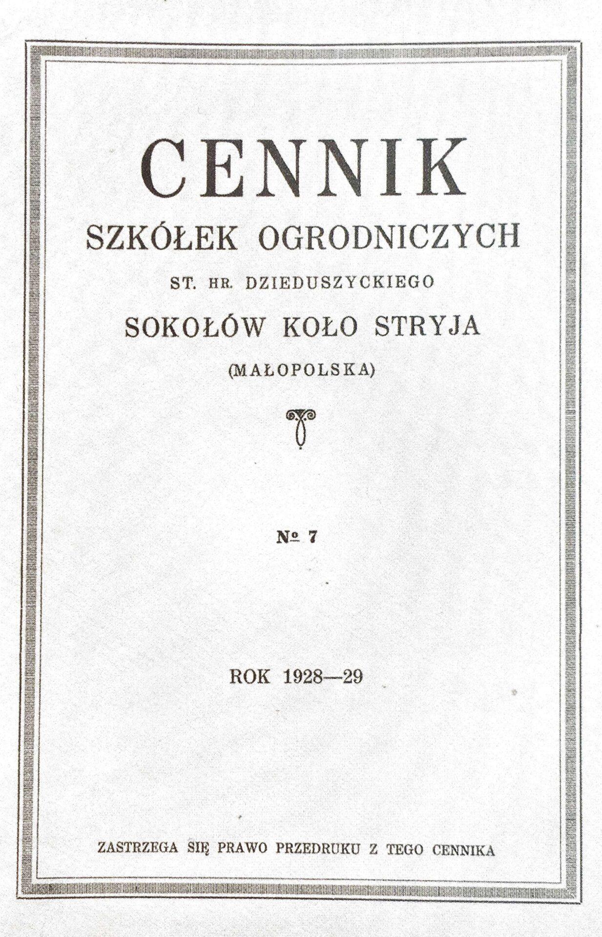 Cennik szkółek ogrodniczych Stanisława Dzieduszyckiego 1