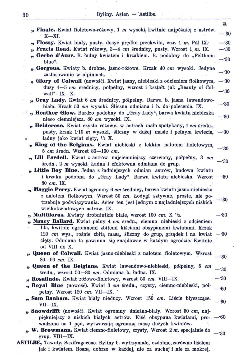 Cennik szkółek ogrodniczych Stanisława Dzieduszyckiego 30