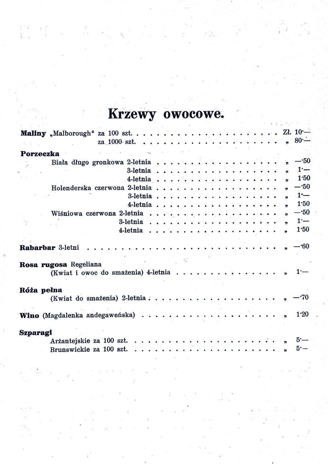 Cennik szkółek ogrodniczych Stanisława Dzieduszyckiego 6