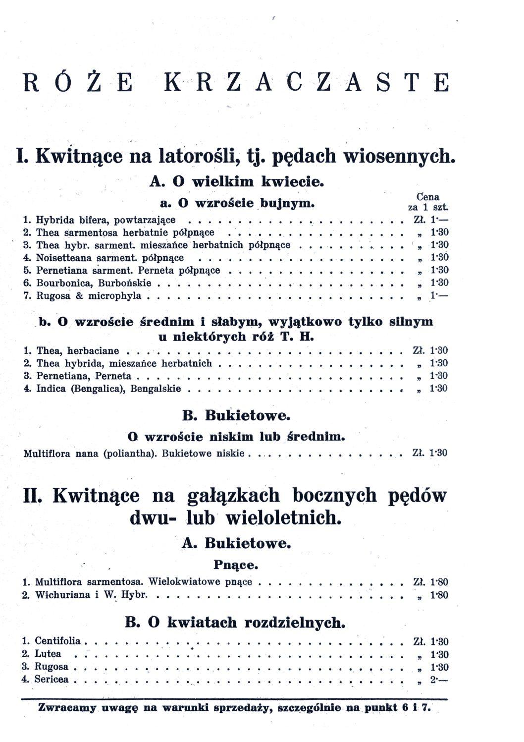 Cennik szkółek ogrodniczych Stanisława Dzieduszyckiego 7