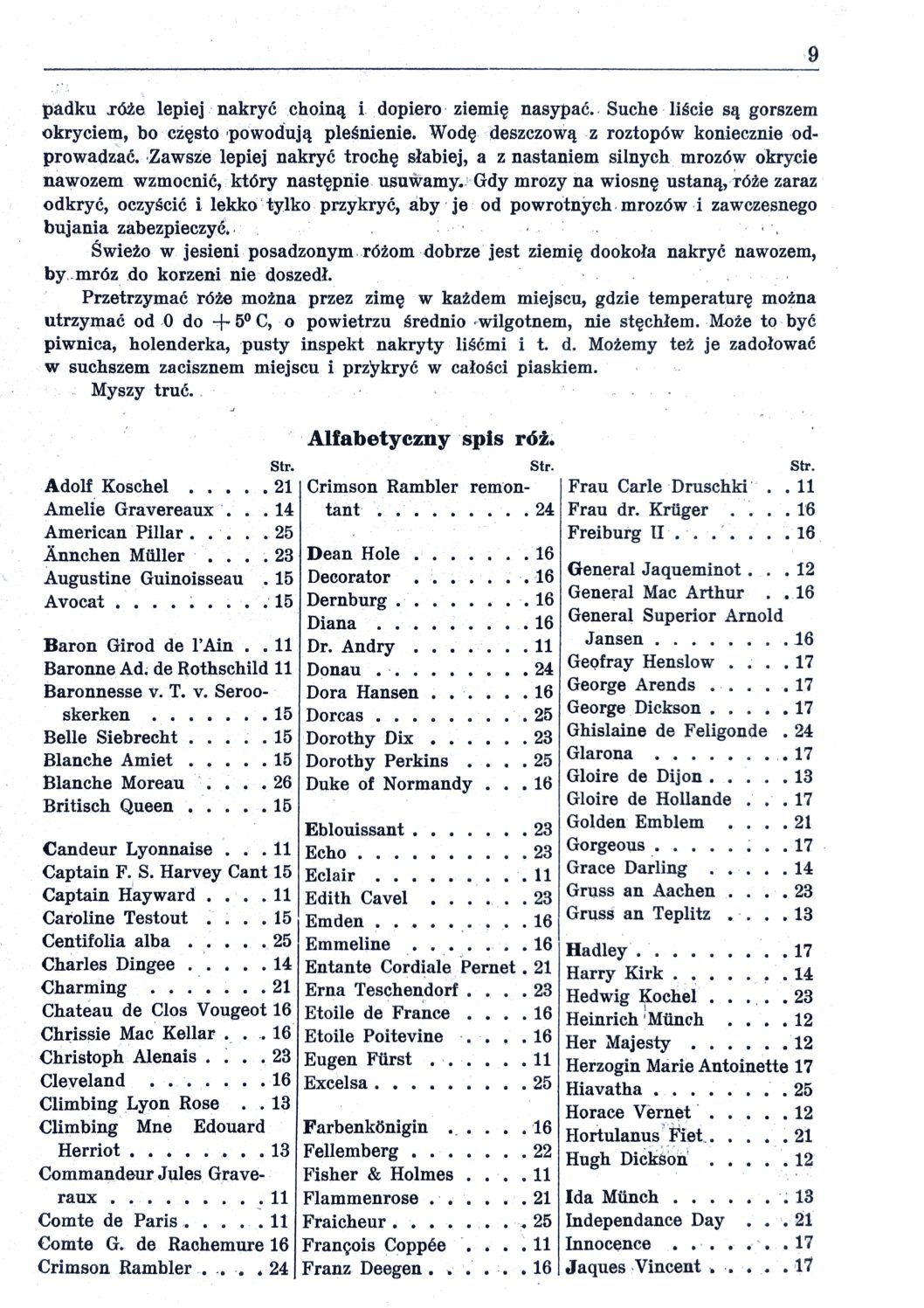 Cennik szkółek ogrodniczych Stanisława Dzieduszyckiego 9