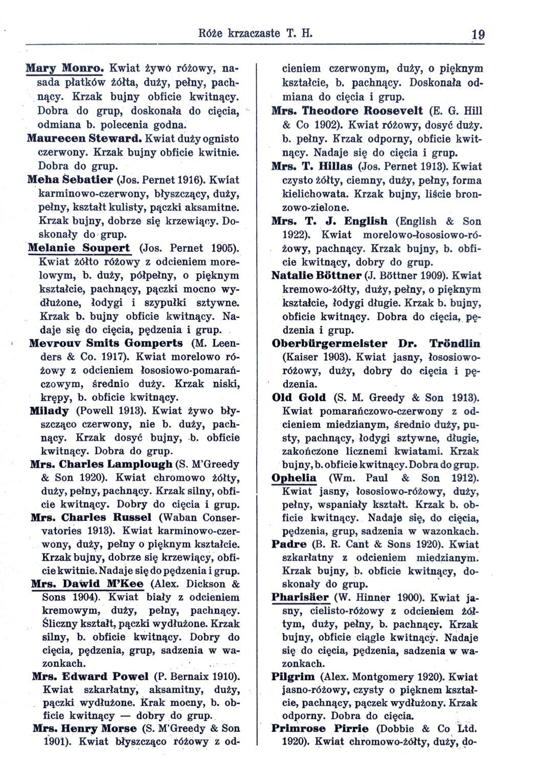 Cennik szkółek ogrodniczych Stanisława Dzieduszyckiego 19
