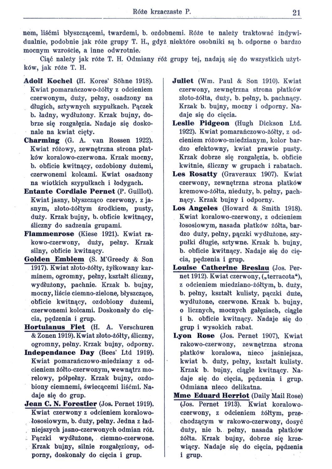 Cennik szkółek ogrodniczych Stanisława Dzieduszyckiego 21