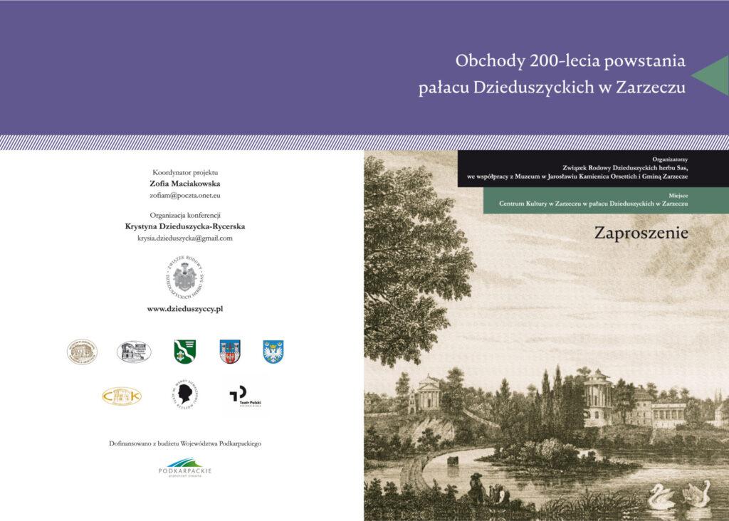 200-lecie powstania pałacu Dzieduszyckich w Zarzeczu