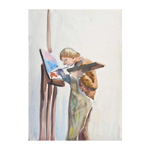 Artysta przy sztaludze, 1956 akwarela