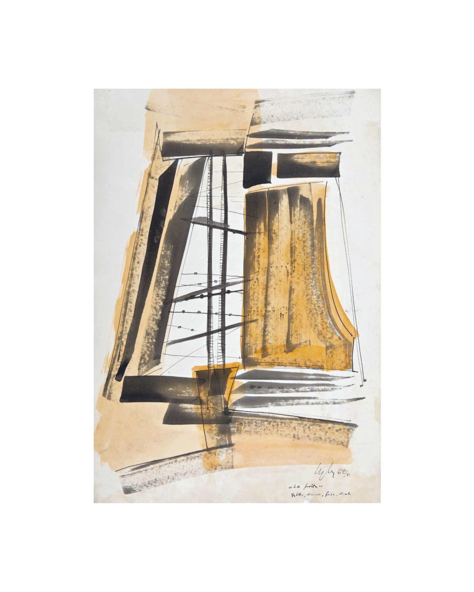 La porte, 1962 tusz, akwarela