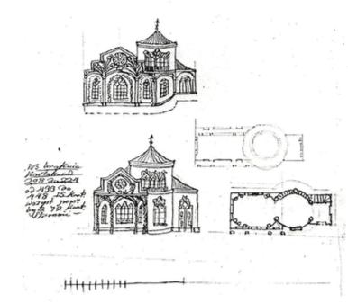 4. Projekt altany ogrodowej? (domu wiejskiego?), BNL, fond 45, opis III, 2263/256, arkusz 3, Zakład Reprografii BNL