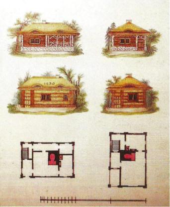 21. Budynki drewniane - domy włościańskie, Lwowska Galeria Sztuki. Zamek w Olesku, fot. K. Kopania