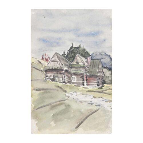 Chata w górach, 1955? akwarela