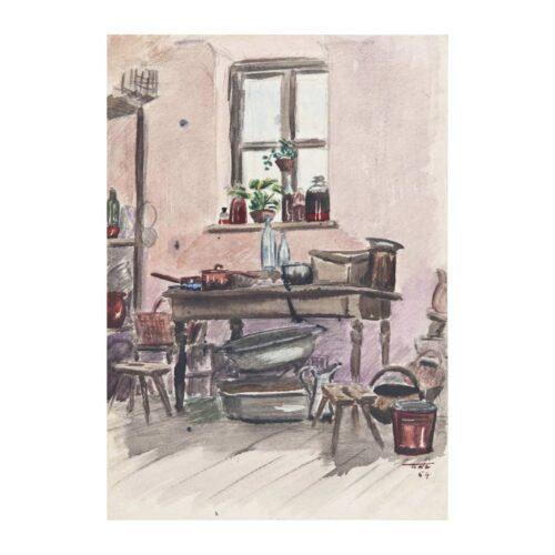 Wnętrze, 1954 akwarela