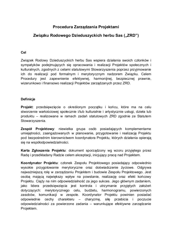 Procedura Zarządzania Projektami